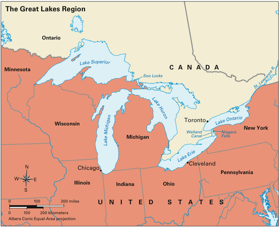 Mapping The Great Lakes - The great lakes on us and canada map
